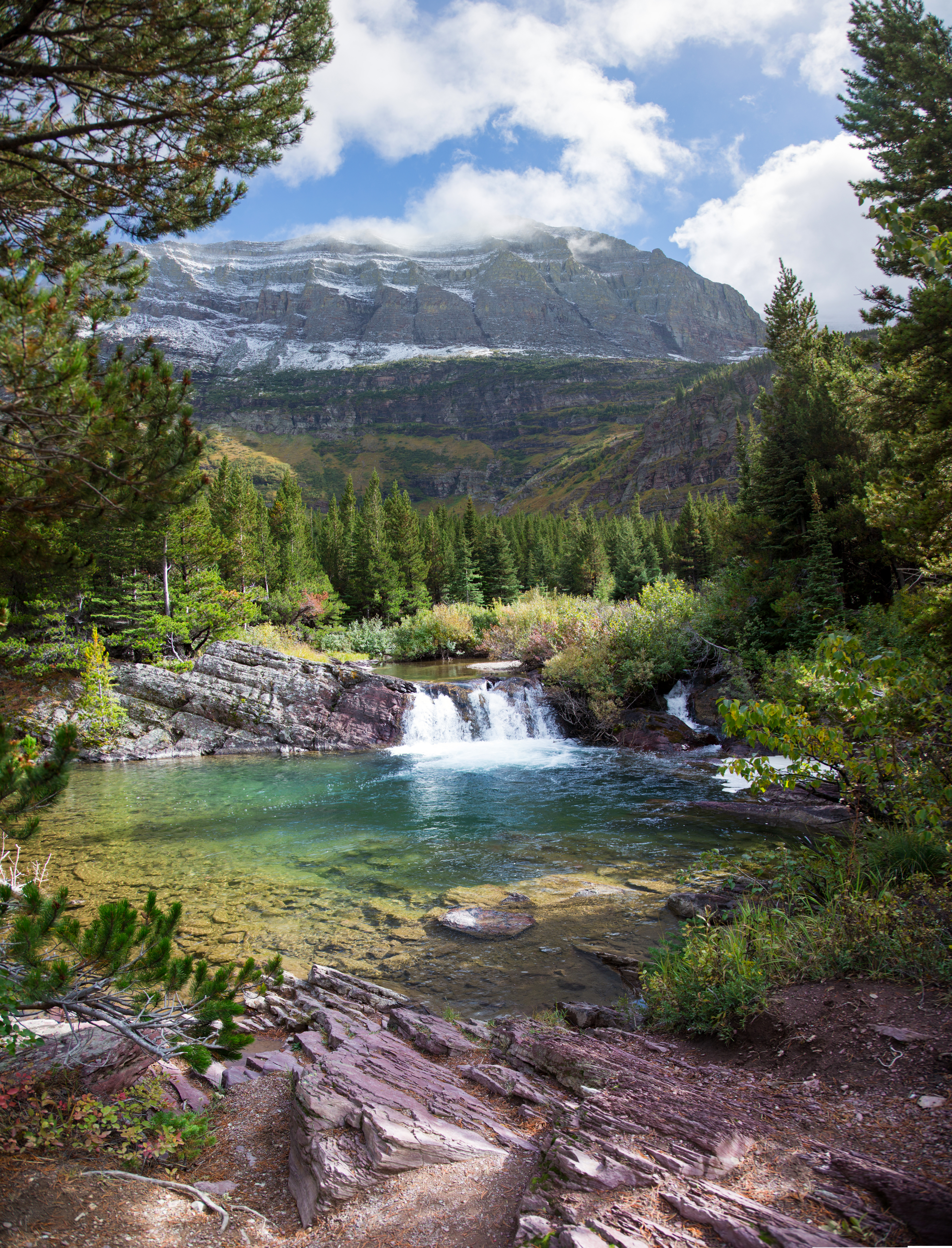 swiftcurrent trail pano waterfall